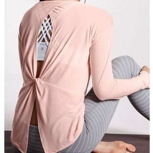 Athleta Pale Pink Open Back Top
